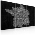 Obraz - Text map of France on the black background - triptych 1
