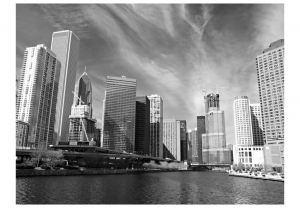Fototapeta - Panorama Chicago (black and white)